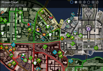 Map in Saints Row 2 - Red Light - Prawn Court