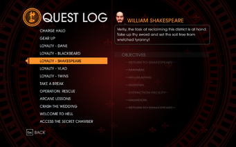 Gat out of Hell - Completed Quests - Loyalty - Shakespeare