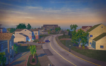 Misty Lane in Saints Row 2 - Aisha's street aerial view