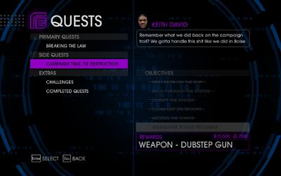 Quests Menu - Campaign Trail of Destruction