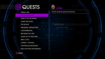 Quests menu - Hail to the Chief