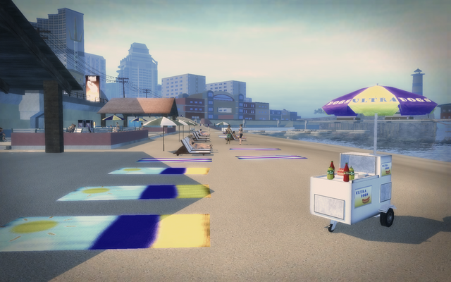 File:Centennial Beach - towels and hot dog stand.png