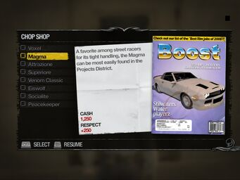 Magma - Truckyard Chop Shop list in Saints Row 2