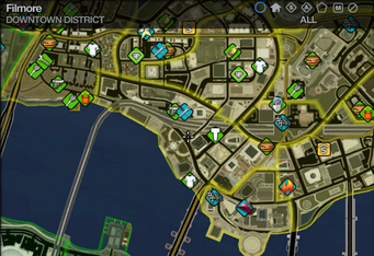 Map in Saints Row 2 - Downtown - Filmore