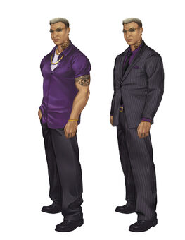 Johnny Gat Concept Art - Saints Row 2 - two outfits with normal glasses