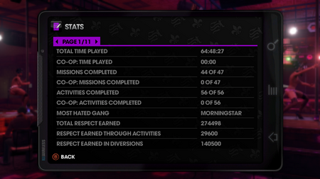 Stats page 1 of 11 in Saints Row The Third