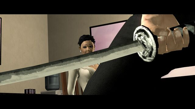 File:Bleeding Out - Aisha looking at Jyunichi's sword.jpg