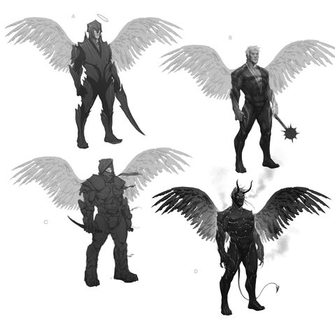 File:Johnny Gat Concept Art - Gat out of Hell Demonic look - four other versions with wings.jpg