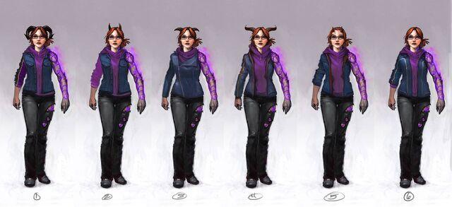 File:Kinzie Kensington Gat out of Hell Concept Art - 6 versions.jpg