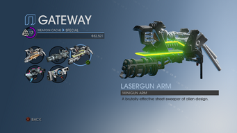 Lasergun Arm in Weapon Cache