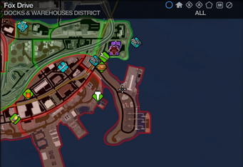 Map in Saints Row 2 - Docks & Warehouses - Fox Drive