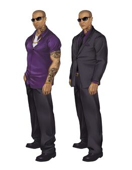 Johnny Gat Concept Art - Saints Row 2 - two outfits with sunglasses
