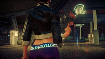 Shaundi in Saints Row The Third showing lower back tattoo removed - closer