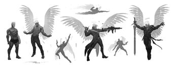 Johnny Gat Concept Art - Gat out of Hell Demonic look - seven sketches