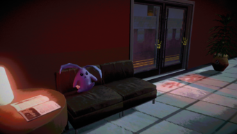 Purple Cabbit on couch inside Kingdom Come Records in Johnny Gat's Simulation in Saints Row IV