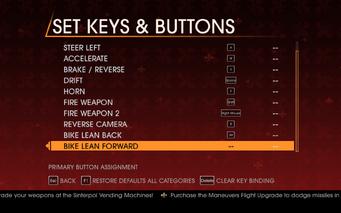 Saints Row Gat out of Hell - Main Menu - Options - Controls - Set Keys & Buttons - Car & Bike II