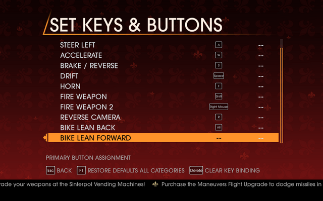 File:Saints Row Gat out of Hell - Main Menu - Options - Controls - Set Keys & Buttons - Car & Bike II.png