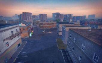 Bavogian Plaza in Saints Row 2 - Saints Hideout parking lot