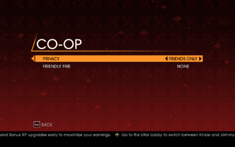 Saints Row Gat out of Hell - Main Menu - Co-op Campaign - Co-op Options