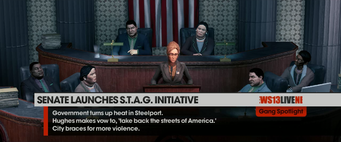 Monica Hughes at press conference - Senate Launches STAG Initiative