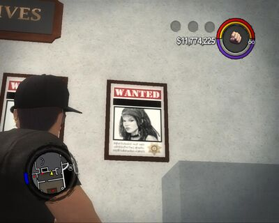 Shaundi - wanted poster in Police Headquarters in Saints Row 2