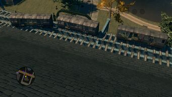 Top view of brokens trains in Sunset Park in Saints Row The Third