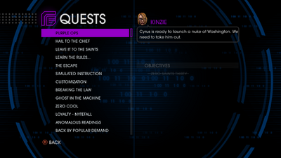 Quests menu - Purple Ops