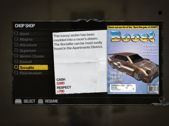 Socialite - Truckyard Chop Shop list in Saints Row 2