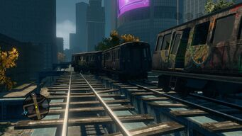 Long view of broken Trains in Sunset Park in Saints Row The Third