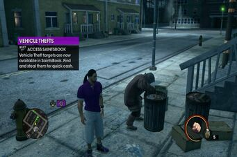 Bum digging through trash in Saints Row The Third