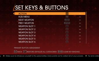 Saints Row Gat out of Hell - Main Menu - Options - Controls - Set Keys & Buttons - General