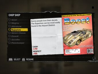 Superiore - Truckyard Chop Shop list in Saints Row 2