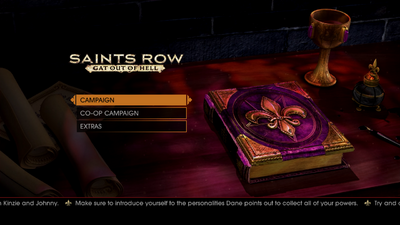 Gat out of Hell main menu - Make sure to introduce yoruself to the personalities Dane points out to collect all of your powers