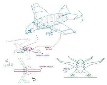 Screaming Eagle - Concept Art sketch of landing mode