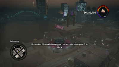 On-screen Tip in Saints Row 2 - Buy and change your clothes to increase your Style Rank