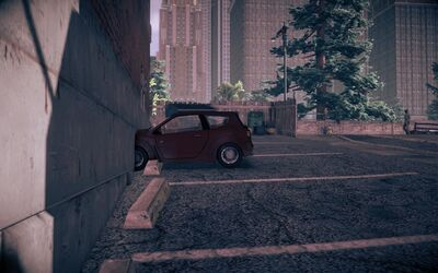 Mockingbird at the broken parking space in Saints Row IV