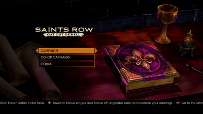 Gat out of Hell main menu - Invest in Bonus Wages and Bonus XP upgrades early to maximise your earnings