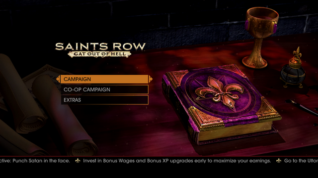 File:Gat out of Hell main menu - Invest in Bonus Wages and Bonus XP upgrades early to maximise your earnings.png
