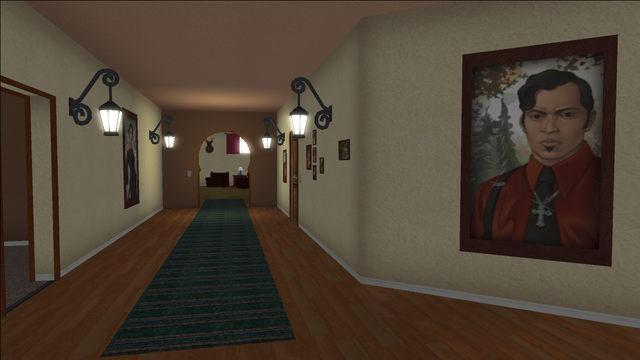File:Lopez Mansion in Saints Row - Upper floor Hallway with small paintings.png