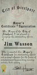 Credits - Mayor Certificate - Jim Wasson