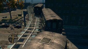 Top view of broken trains in Loren Square in Saints Row The Third