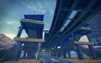 Humbolt Park in Saints Row 2 - train station from below