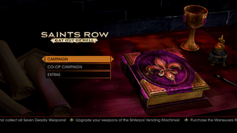 Gat out of Hell main menu - Upgrade your weapons at the Sinterpol Vending Machines
