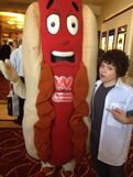 Cameron Ocasio with a giant hot dog