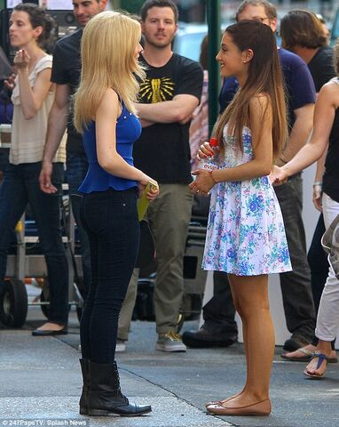 File:Jennette McCurdy and Ariana Grande chatting between takes of the Nesquik Commercial.jpg
