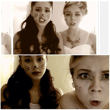 File:Ariana as a cat and Jennette as frosting on Halloween 2012.jpg