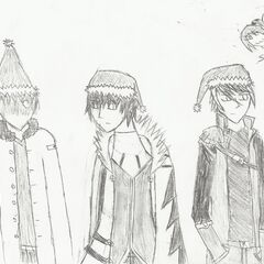 Galant, Ihsi and Snow, drawn by Ishi for Christmas