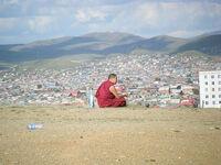 Bhuddist monk and ulaanbaatar