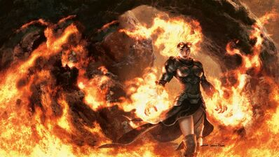 Women flames fantasy mage fire orange magic the gathering glasses armor goggles magic sorcerer sorce www.wall321.com 37
