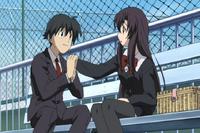 Makoto happily holds Kotonoha's hand